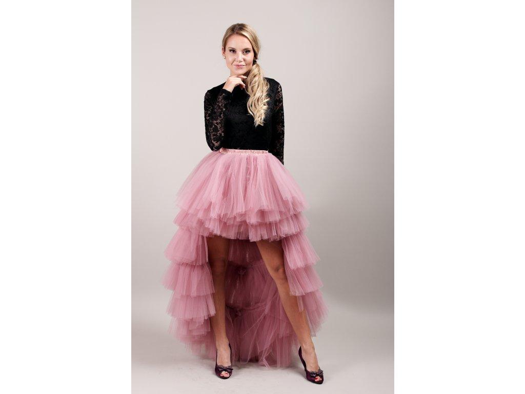 Tutu sukně tylová s vlečkou - KASKÁDY - starorůžová