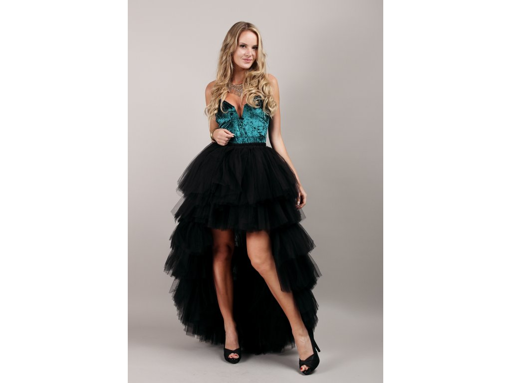Tutu sukně tylová s vlečkou - KASKÁDY - černá