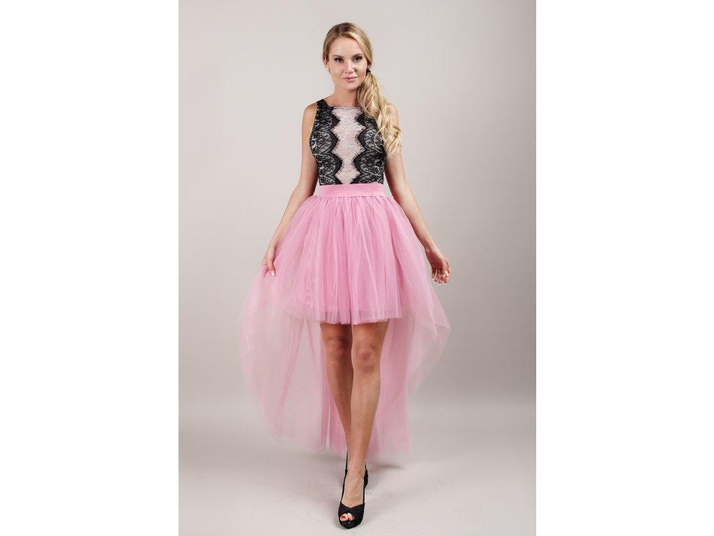 Tutu sukně tylová s vlečkou - korálová