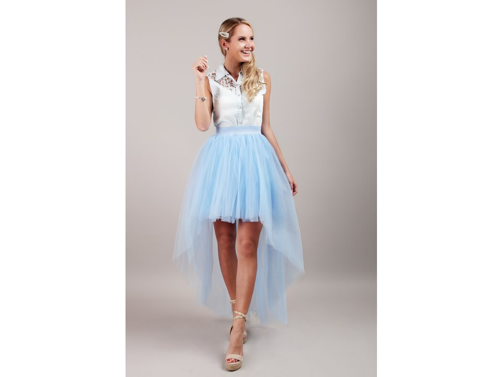 Tutu sukně tylová s vlečkou - světle modrá