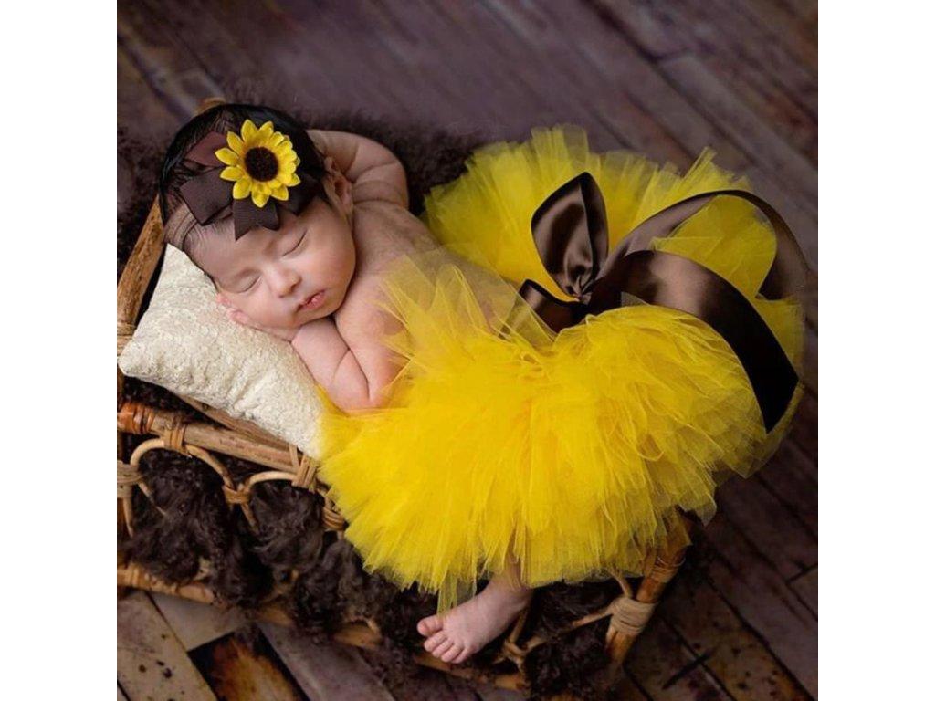 Tutu set na miminko - slunečnice - žlutý