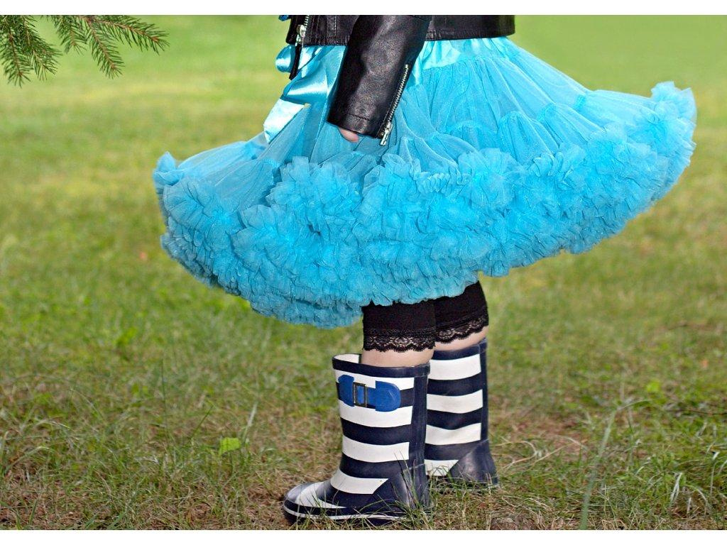 Tutu sukně dětská tylová extra - tyrkysová