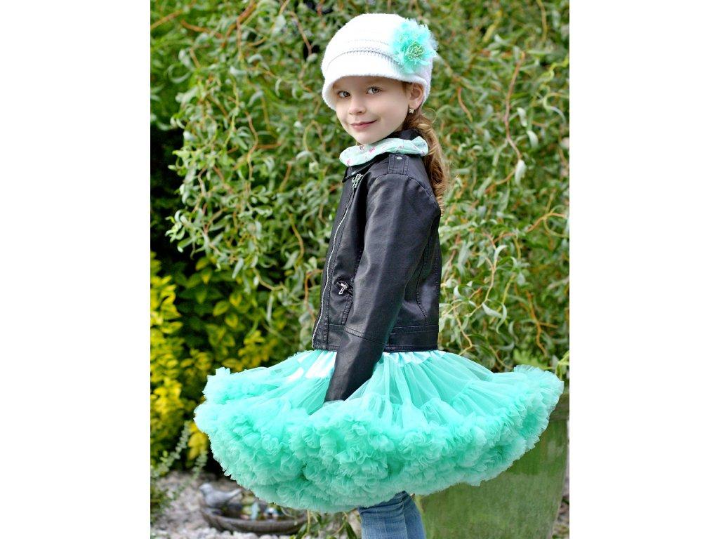 Tutu sukně dětská tylová extra - mátová