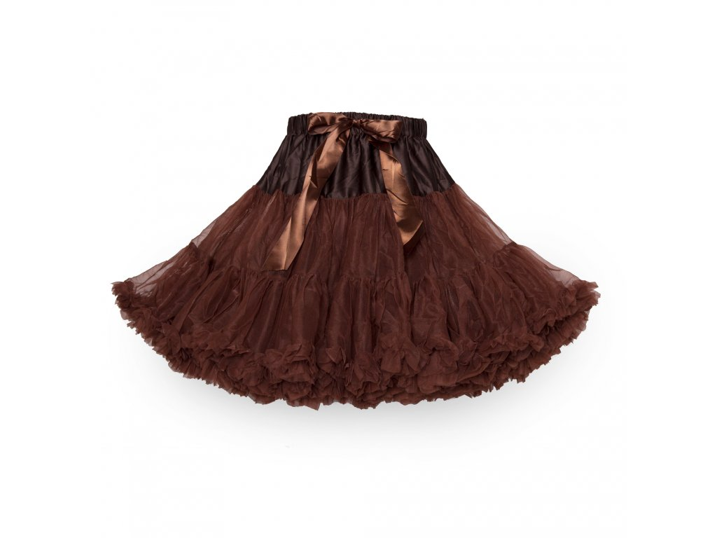 Tutu sukně dámská tylová maxima - čokoládová