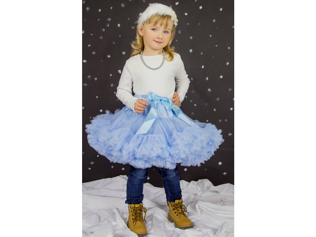 Tutu sukně dětská tylová extra - světle modrá