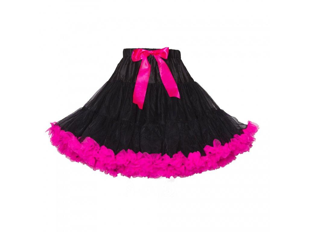 Tutu sukně dámská tylová extra - černo růžová