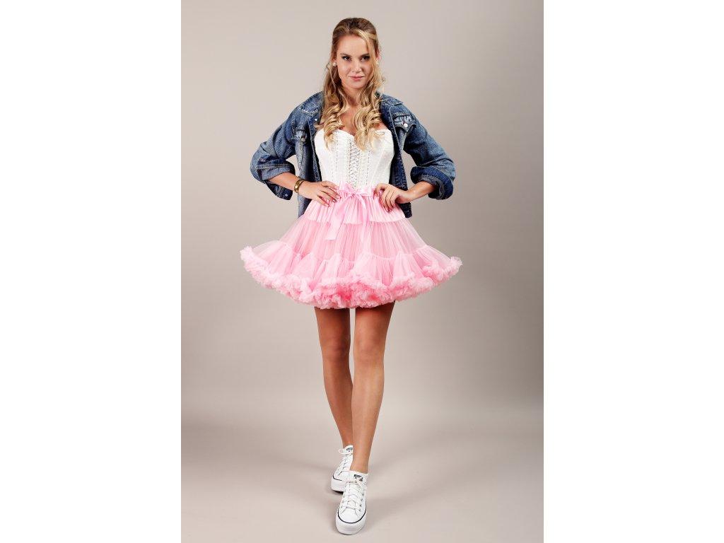 Tutu sukně dámská tylová extra - světle růžová