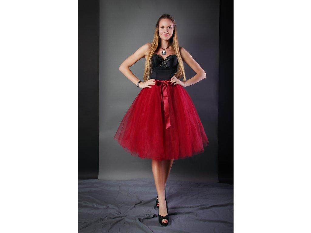 Tutu sukně tylová dámská - vínová