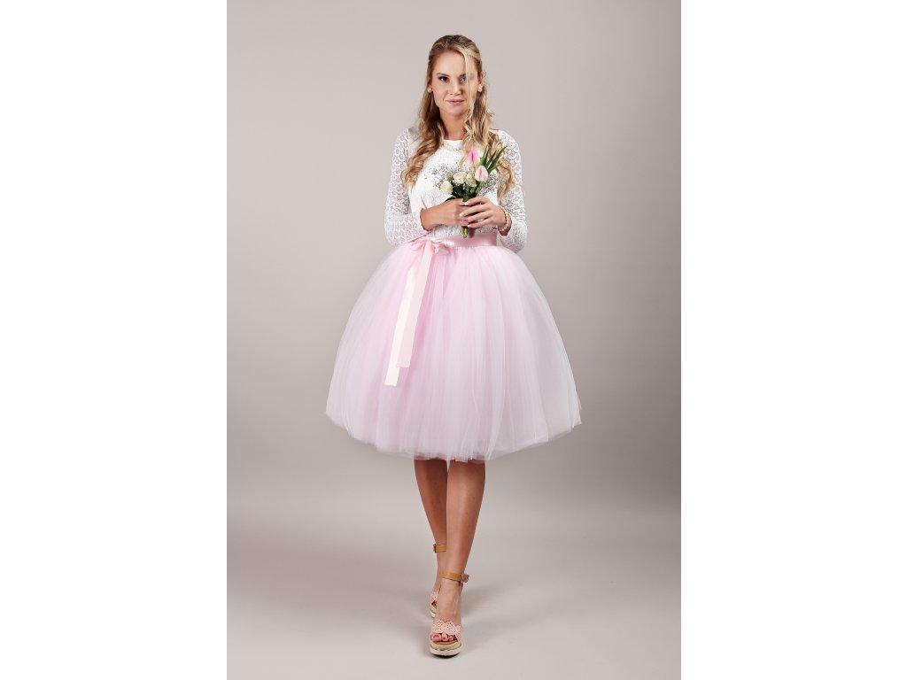 Tutu sukně tylová dámská - světle růžová - družičky