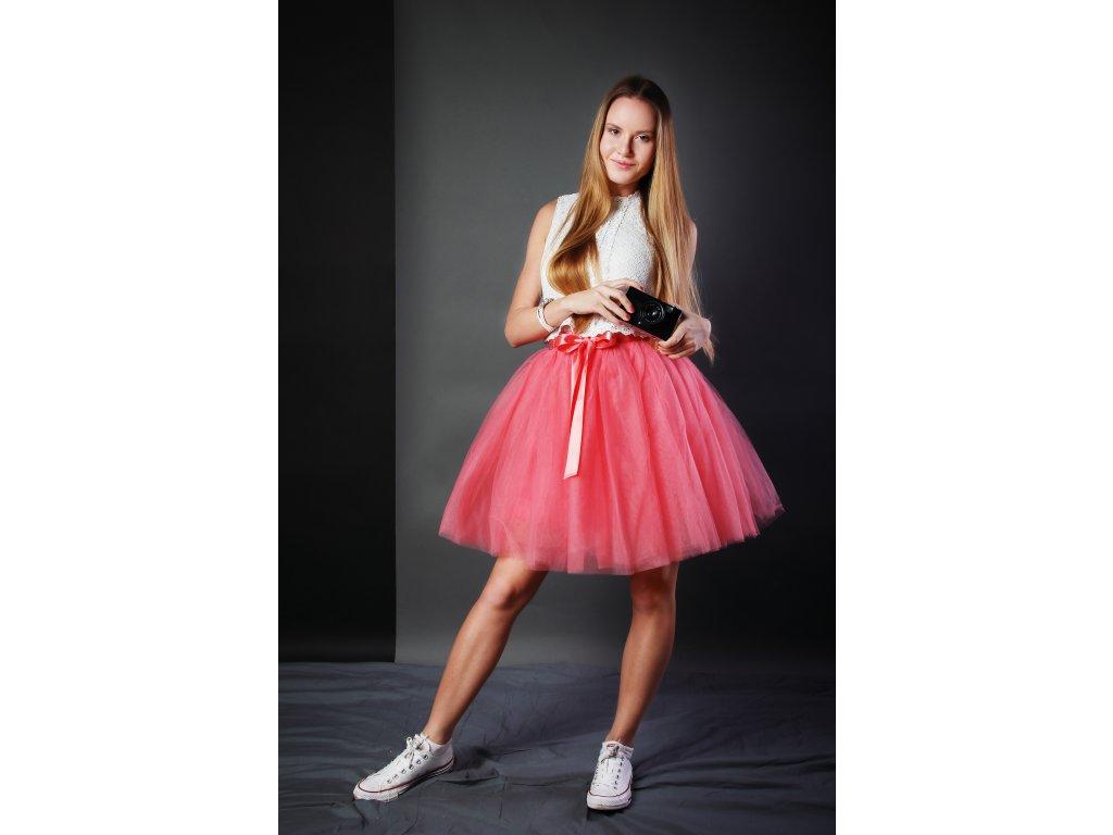 Tutu sukně tylová dámská - jahodová