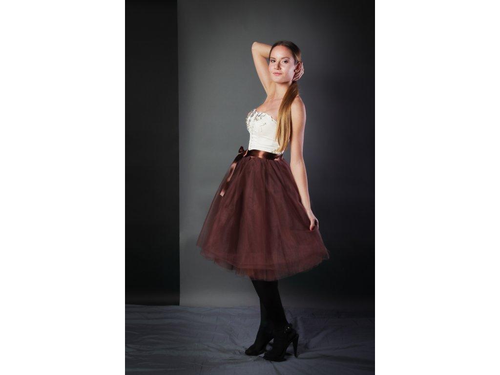 Tutu sukně tylová dámská - čokoládová