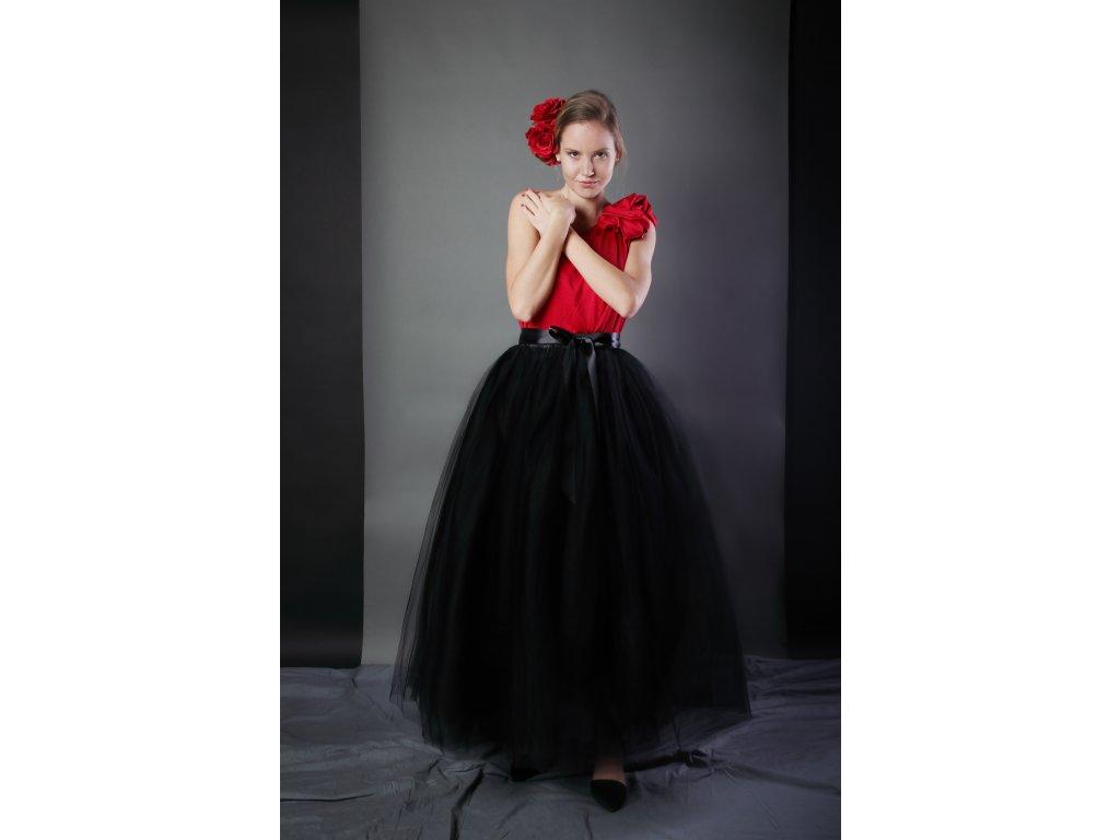 Tutu sukně tylová dámská maxi - černá