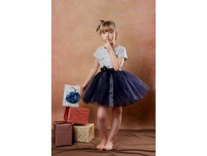 TUTU sukně tylová dětská - NÁMOŘNICKY MODRÁ - délka 35 cm