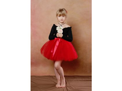 Tutu sukně tylová dětská - červená - délka 35 cm