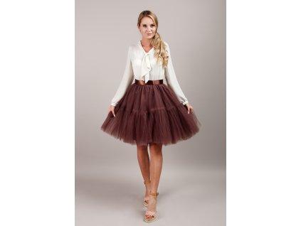 TUTU sukně tylová s kanýrem - čokoládová
