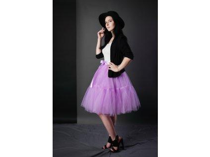 TUTU sukně tylová s kanýrem - šeříková