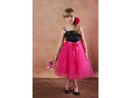 TUTU sukně tylová dětská - TMAVĚ RÚŽOVÁ - délka 35 cm a 50 cm