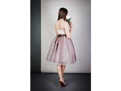TUTU sukně tylová dámská - BÍLO-ČOKOLÁDOVÁ