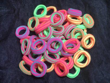Gumičky do vlasů - 50 kusů-neonové proužky