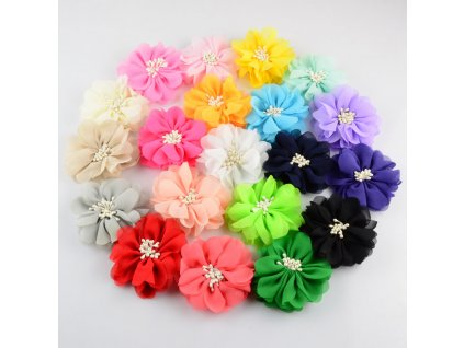 60pcs lot 2 76 Inch Boutique Girls Hair Flower 20C Artificial Chiffon Flowers WITH CLIP For hz