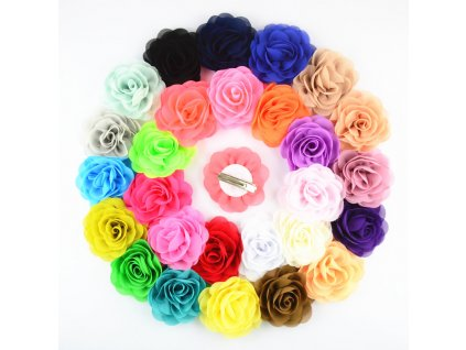 100pcs lot Europen Style 3 18 Chiffon Fabric Rosette Flowers WITH CLIPS girl Fashion Hairpins Headwear