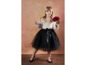 TUTU sukně tylová dětská - ČERNÁ - délka 35 cm a 50 cm