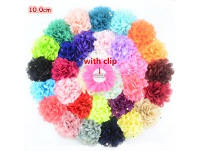 Wholesale 100pcs lot Chic Flower Hairclip 4 Gold Polka Dot Chiffon Flower Hairpin School Girl Headwear