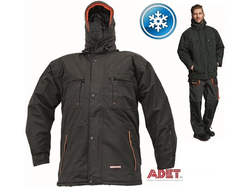 Pracovné odevy - zimná pracovná bunda EMERTON BLACK - ČERVA - ADET ... 8018645eaf5