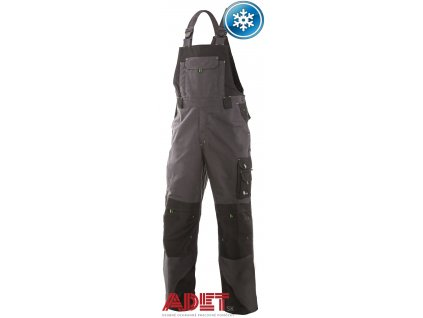 pracovne nohavice s naprsenkou cxs sirius TRISTAN 1030014708 sedo cierno zelene zateplene