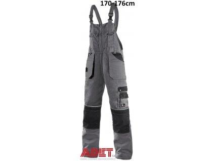 pracovne nohavice s naprsenkou cxs orion KRYŠTOF 1030025710 sedo cierne skratene