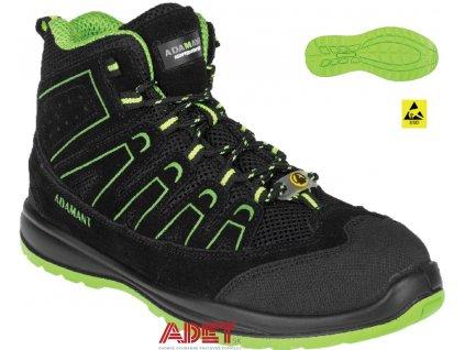 bezpecnostna clenkova obuv adm alegro s1p esd green high