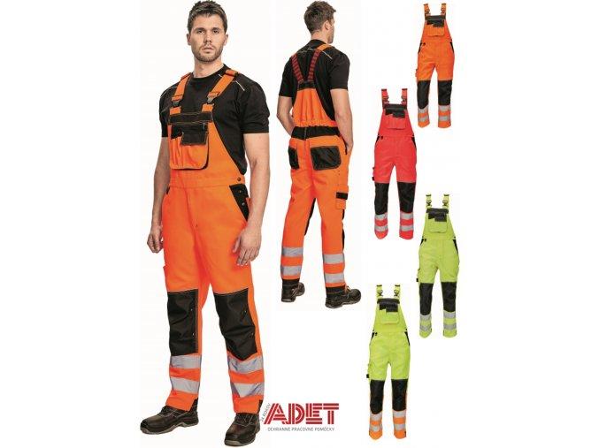 pracovne nohavice s naprsenkou cerva 03020328 KNOXFIELD HV BIBPANTS orange 3
