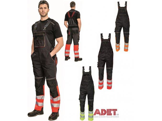 pracovne nohavice s naprsenkou reflexne cerva 03020328A KNOXFIELD REFLEX BIBPANTS red 3