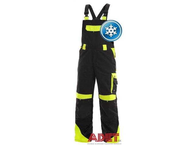 pracovne nohavice s naprsenkou zateplene cxs SIRIUS BRIGHTON 1030014802 cierno zlta