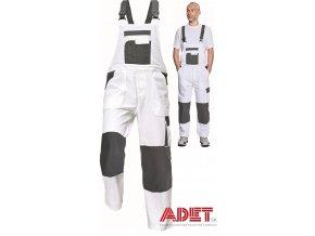pracovne nohavice s naprsenkou cerva 03020248 TAUPO bibpants white 1