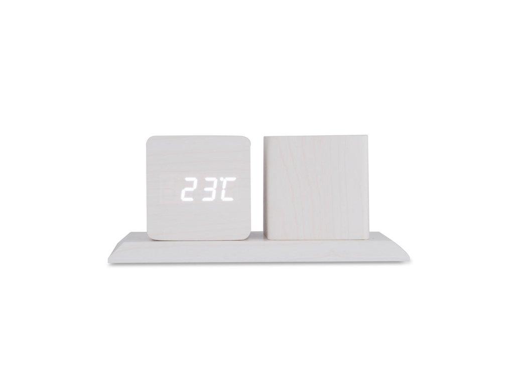 B03083|Digitální stolní hodiny+stojánek na pera a propisky|Kancelářské hodiny|Reklamní předměty|Potisk|Bílá