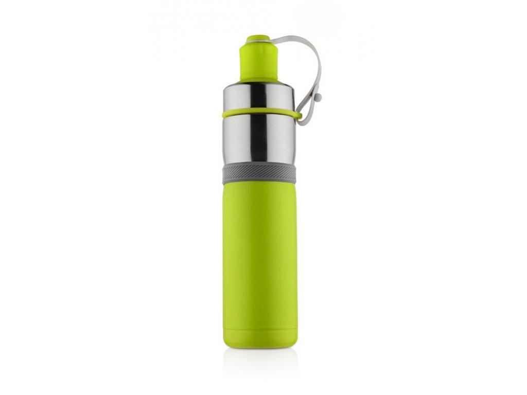 B17666-13|sportovní láhev s vakuovou izolací a gumovým úchopem udrží nápoj teplý či studená až 13 hodin|Zelená designová láhev |Novinka|Reklamní dárky pro firmy s potiskem či bez potisku