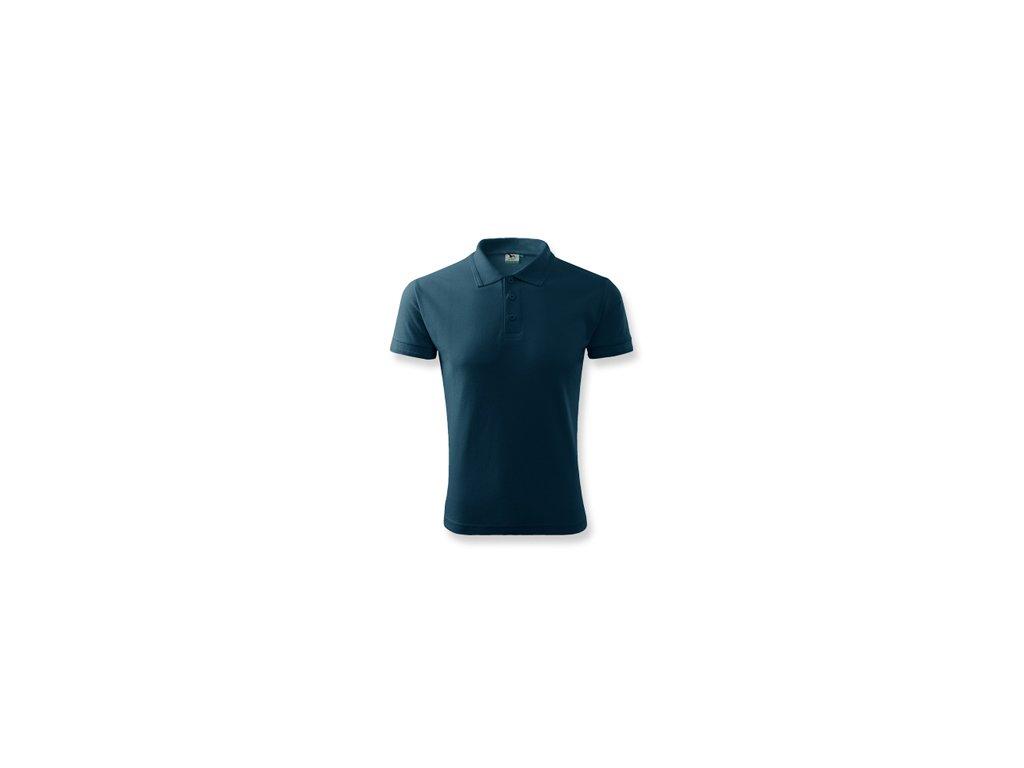 733122c6335 032826-24 tmavě modrá bavlněné tričko s límečkem   reklamní potisk na tričko  reklamní