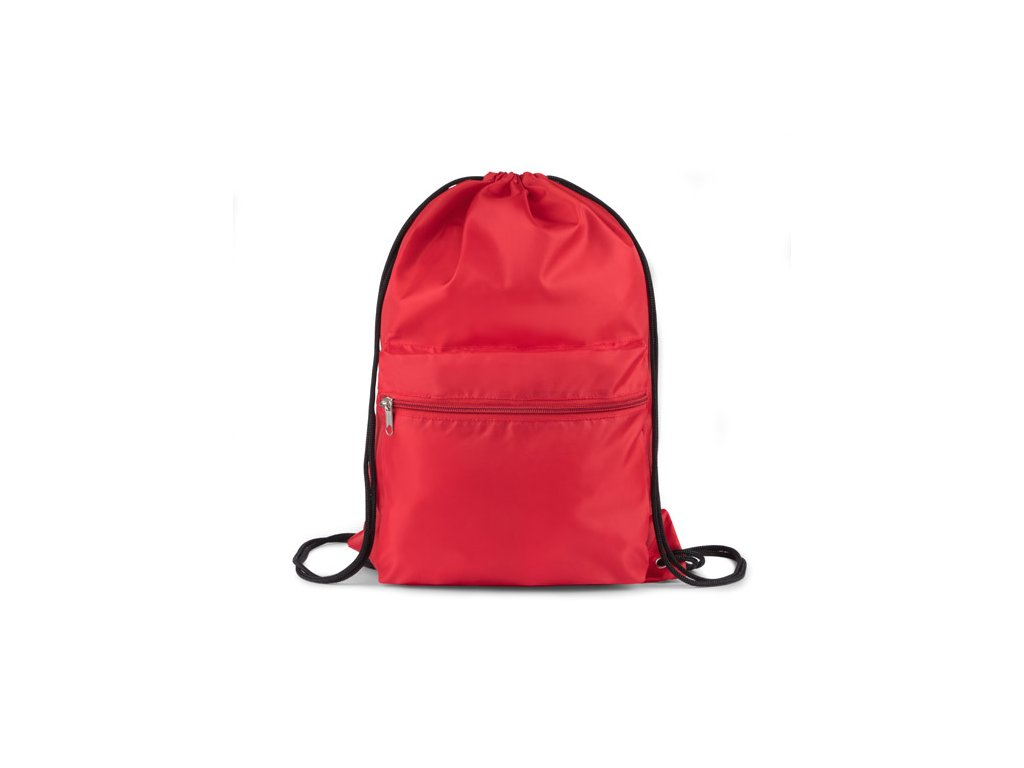 B20240-04 Látkové vaky a batohy na záda se šňůrkou a velkou kapsou Reklamní předměty s potiskem Firemní potisk na vaky a batohy červená