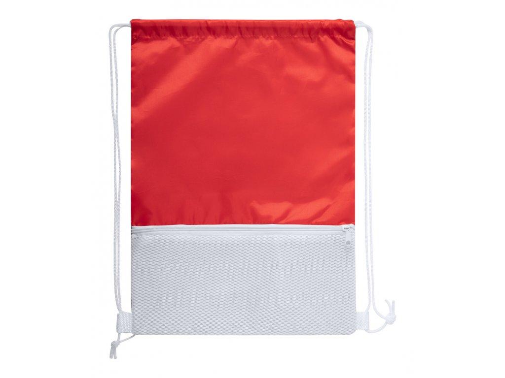 M721562- 05/Reklamní stahovací batoh Bavlněné batohy s popruhem na rameno Reklamní předměty a reklamní batohy s potiskem i bez potisku ČERVENÁ