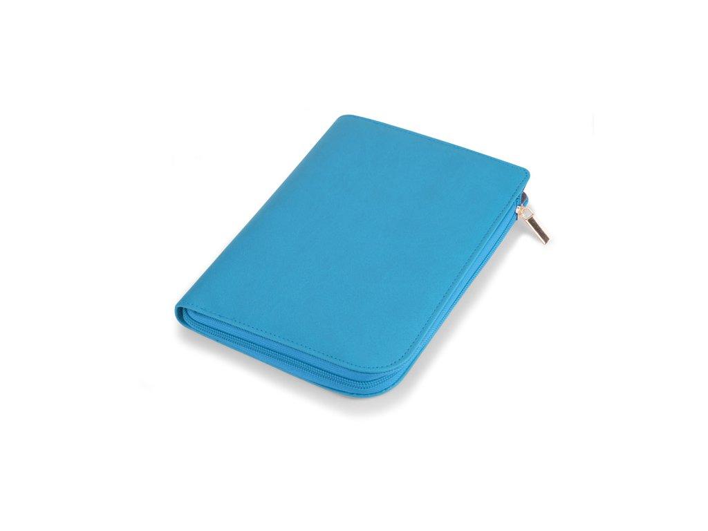 B17707-03|Zápisník nelinkovaný v koženém pouzdře na zip|kancelářské zápisníky|Reklamní potisk|Modrá barva