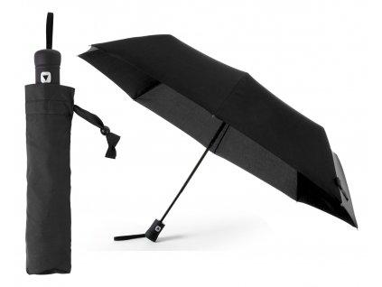 M741690 10/Reklamní deštníky|Reklamní deštníky s barevným reflexním lememe a barevnou rukojetí|Deštníky s potiskem i bez potisku|Skládací deštník open close/ ČERNÁ