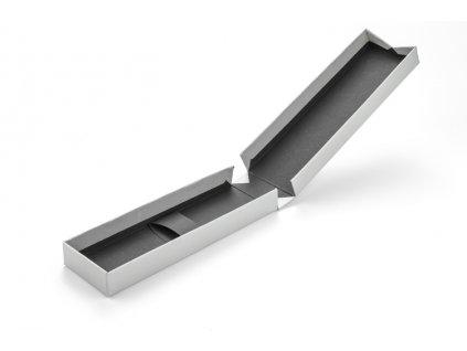 B02017-00|Dárková papírová krabička na psací potřeby|stříbrná