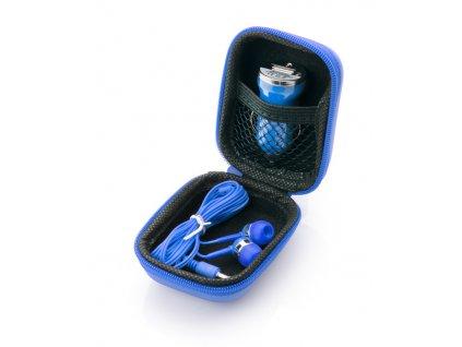 B09038-03 Reklamní sluchátka malá přenosná špontová v dárkové sadě v pouzdře modrá
