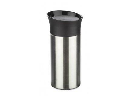 B16010/ Termohrnek nerez ocel s plastovým svakajícím víčkem, 100 % těsnící termohrnky ve vysoké kvalitě, nápoj udrží horký či studený až 13 hodin/ stříbrná, černá