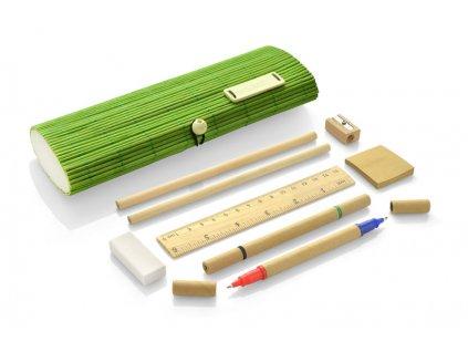 B17620|Bambusové tužky a propisky|Bambusový penál|Reklamní potisk na psací potřeby dle zadáni|Zelená
