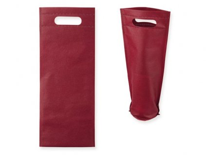 095399-34|Reklamní dárková taška na víno z netkané textilie|80g/m2|Reklamní potisk na dárkové tašky|Bordó