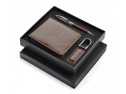 B17600 09 a|Pánská peněženka v dárkové krabičce|Reklamní pánské peneženky, luxusní kožené klíčenky a kovové pero kombinované s kůží|Dárkové sady peněženky a klíčenky|Reklamní dárky pro pány|pro muže|Luxusní dárkové sady|Hnědá