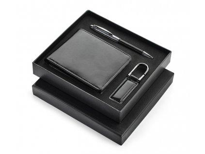B17600 02|Peněženka|Peneženky|Klíčenky kožené|Kovové pero|Luxusní dárková sada s peněženkou a klíčenkou|Reklamní dárkové sady s potiskem i bez potisku|černá