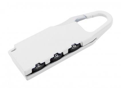 M741366 - 01 /Cestovní kodovací zámeček na kufry a zavazadla|Reklamní cestovní kovový zámek s číselnými kódy|Kodovací zámeček na zavazadla,tašky a kufry|Reklamní předměty s potiskem i bez potisku/ BÍLÁ